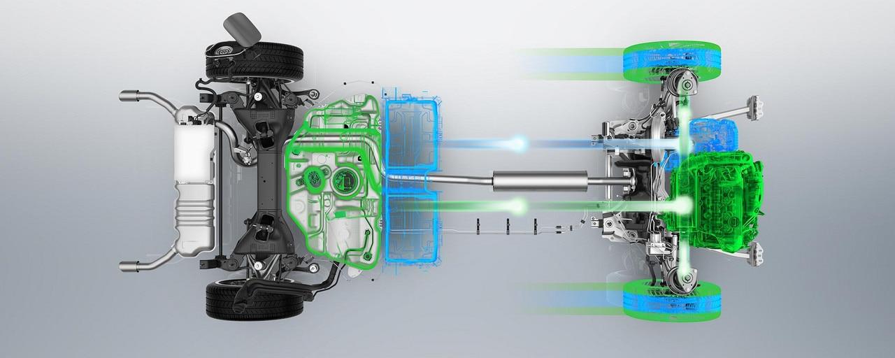 moteur PureTech 180ch/132kW associé à un moteur électrique de 110ch/80kW pour une puissance combinée maximale de 225ch/165kW